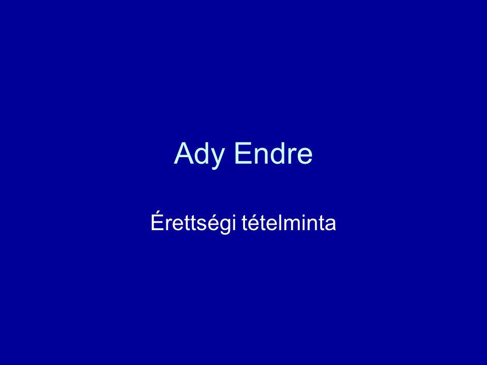 Témakör-Tételek Témakör: Ady Endre Tételek: 1.Ady Új versek című kötete 2.