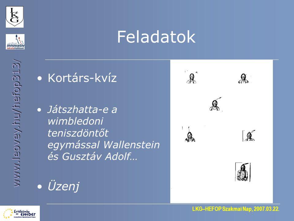 LKG–HEFOP Szakmai Nap, 2007.03.22.www.leovey.hu/hefop313 / Ráadás Feladatküldés 1543.
