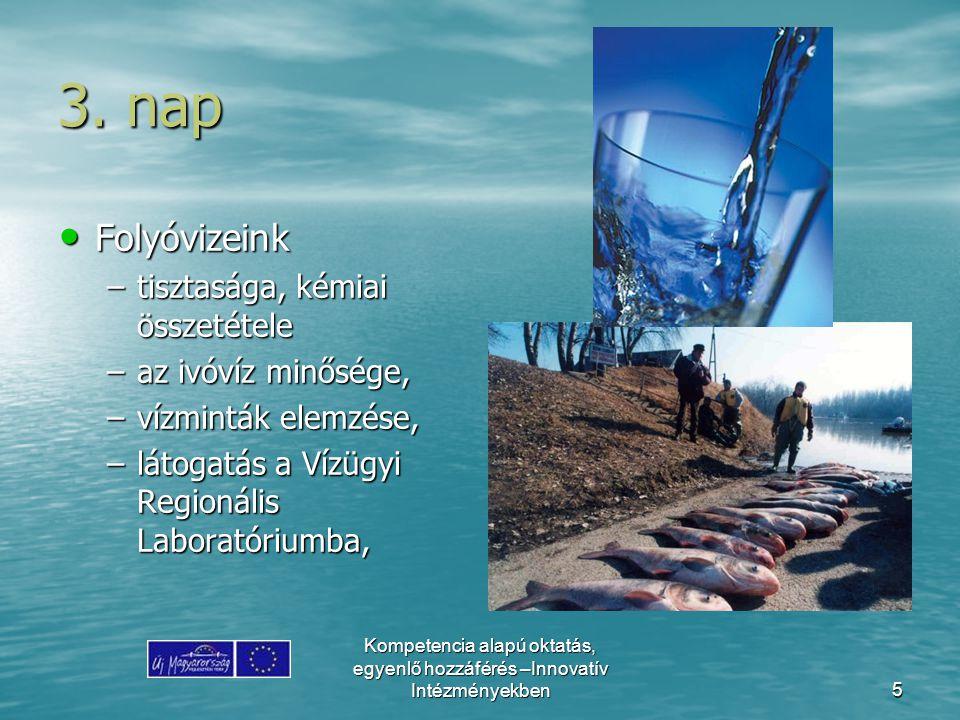 Kompetencia alapú oktatás, egyenlő hozzáférés –Innovatív Intézményekben5 3. nap Folyóvizeink Folyóvizeink –tisztasága, kémiai összetétele –az ivóvíz m