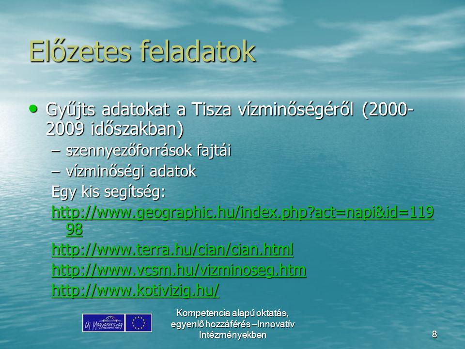 Kompetencia alapú oktatás, egyenlő hozzáférés –Innovatív Intézményekben8 Előzetes feladatok Gyűjts adatokat a Tisza vízminőségéről (2000- 2009 időszak