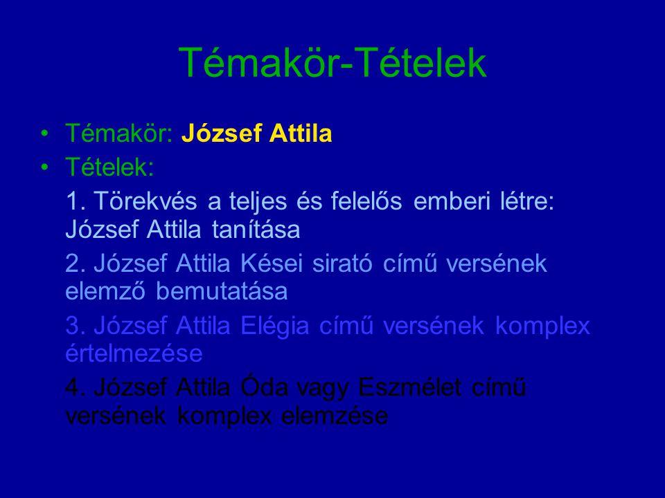 Témakör-Tételek Témakör: József Attila Tételek: 1.