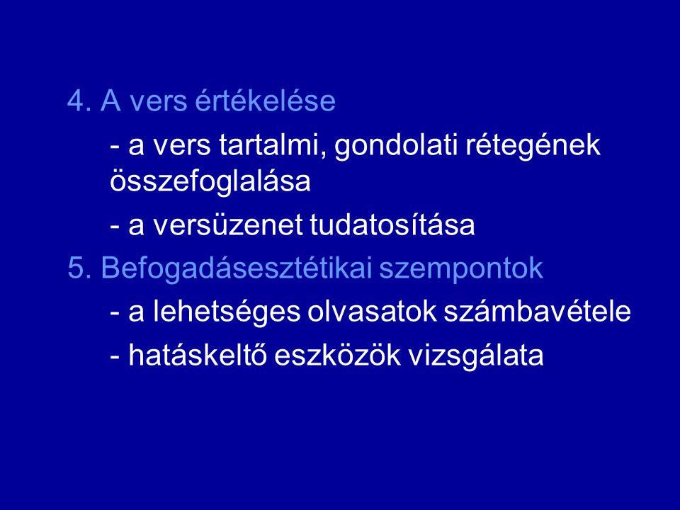 4. A vers értékelése - a vers tartalmi, gondolati rétegének összefoglalása - a versüzenet tudatosítása 5. Befogadásesztétikai szempontok - a lehetsége