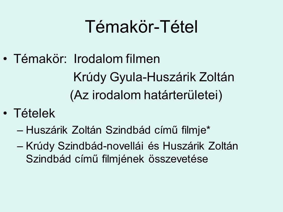 Feladat - Mutassa be Huszárik Zoltán Szindbád című filmjét az irodalmi alkotás filmes megvalósítása alapján.