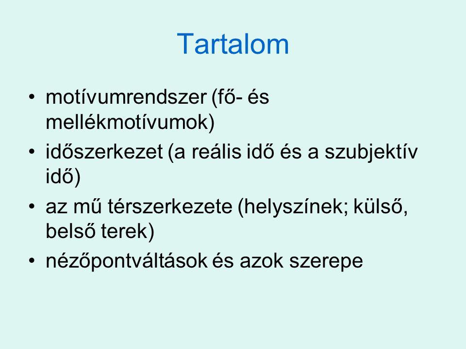 Tartalom motívumrendszer (fő- és mellékmotívumok) időszerkezet (a reális idő és a szubjektív idő) az mű térszerkezete (helyszínek; külső, belső terek)