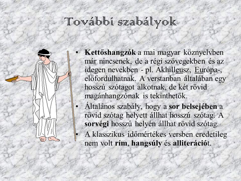 További szabályok Kettőshangzók a mai magyar köznyelvben már nincsenek, de a régi szövegekben és az idegen nevekben - pl. Akhilleusz, Európa-, előford