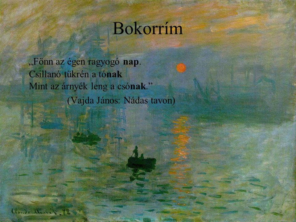 """Bokorrím """"Fönn az égen ragyogó nap. Csillanó tükrén a tónak Mint az árnyék leng a csónak."""" (Vajda János: Nádas tavon)"""