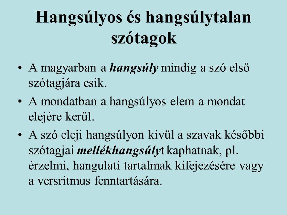 Hangsúlyos és hangsúlytalan szótagok A magyarban a hangsúly mindig a szó első szótagjára esik. A mondatban a hangsúlyos elem a mondat elejére kerül. A