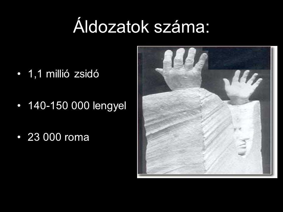 Áldozatok száma: 1,1 millió zsidó 140-150 000 lengyel 23 000 roma