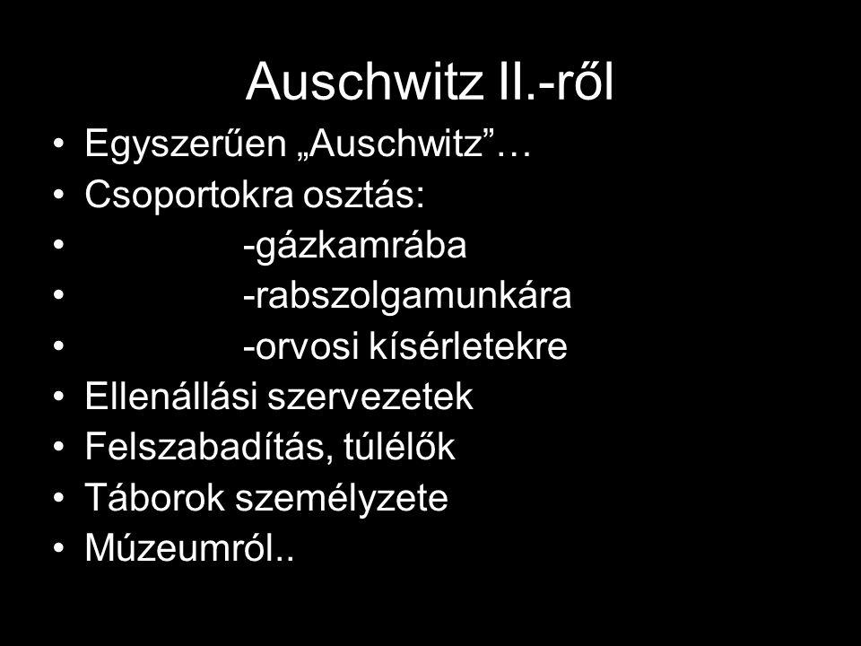 """Auschwitz II.-ről Egyszerűen """"Auschwitz""""… Csoportokra osztás: -gázkamrába -rabszolgamunkára -orvosi kísérletekre Ellenállási szervezetek Felszabadítás"""