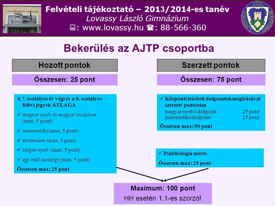 Felvételi tájékoztató – 201 3 /201 4 - e s tanév Lovassy László Gimnázium  : www.lovassy.hu  : 88-566-360 Bekerülés az AJTP csoportba Hozott pontokSzerzett pontok Összesen: 25 pontÖsszesen: 75 pont A 7.