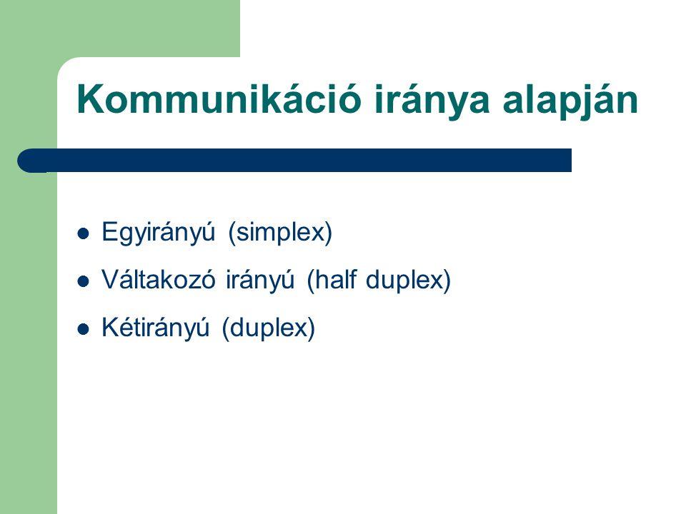 Kommunikáció iránya alapján Egyirányú (simplex) Váltakozó irányú (half duplex) Kétirányú (duplex)