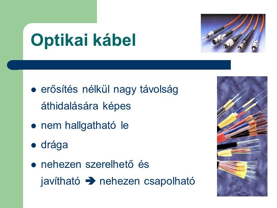 Optikai kábel erősítés nélkül nagy távolság áthidalására képes nem hallgatható le drága nehezen szerelhető és javítható  nehezen csapolható