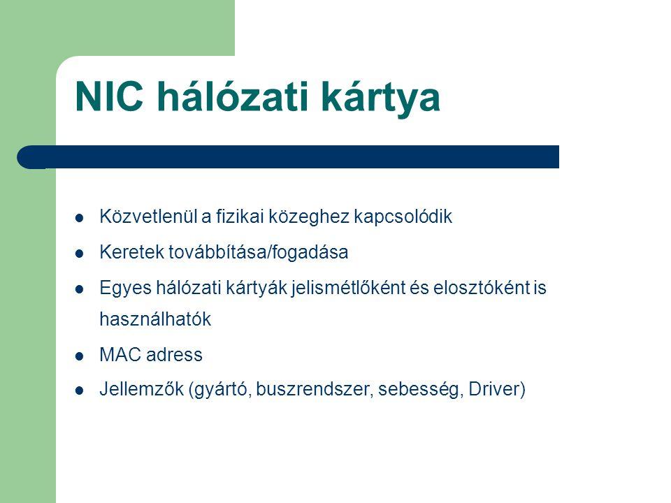 NIC hálózati kártya Közvetlenül a fizikai közeghez kapcsolódik Keretek továbbítása/fogadása Egyes hálózati kártyák jelismétlőként és elosztóként is ha