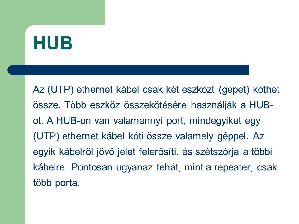 HUB Az (UTP) ethernet kábel csak két eszközt (gépet) köthet össze. Több eszköz összekötésére használják a HUB- ot. A HUB-on van valamennyi port, minde