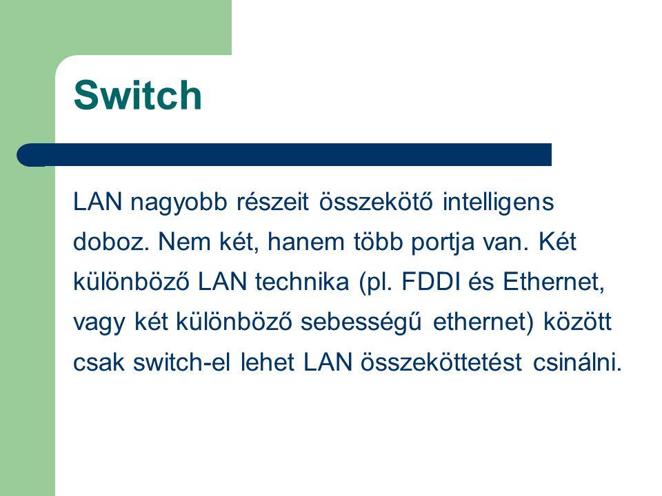 Switch LAN nagyobb részeit összekötő intelligens doboz. Nem két, hanem több portja van. Két különböző LAN technika (pl. FDDI és Ethernet, vagy két kül