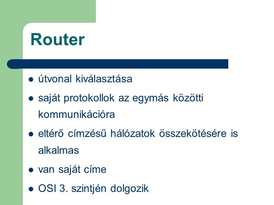 Router útvonal kiválasztása saját protokollok az egymás közötti kommunikációra eltérő címzésű hálózatok összekötésére is alkalmas van saját címe OSI 3