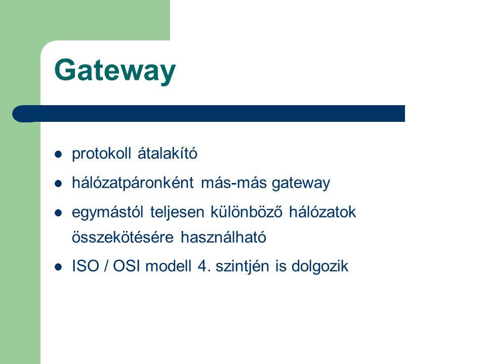 Gateway protokoll átalakító hálózatpáronként más-más gateway egymástól teljesen különböző hálózatok összekötésére használható ISO / OSI modell 4. szin