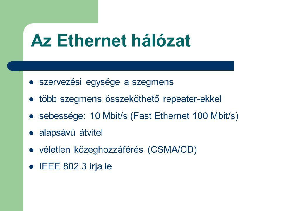 Az Ethernet hálózat szervezési egysége a szegmens több szegmens összeköthető repeater-ekkel sebessége: 10 Mbit/s (Fast Ethernet 100 Mbit/s) alapsávú á