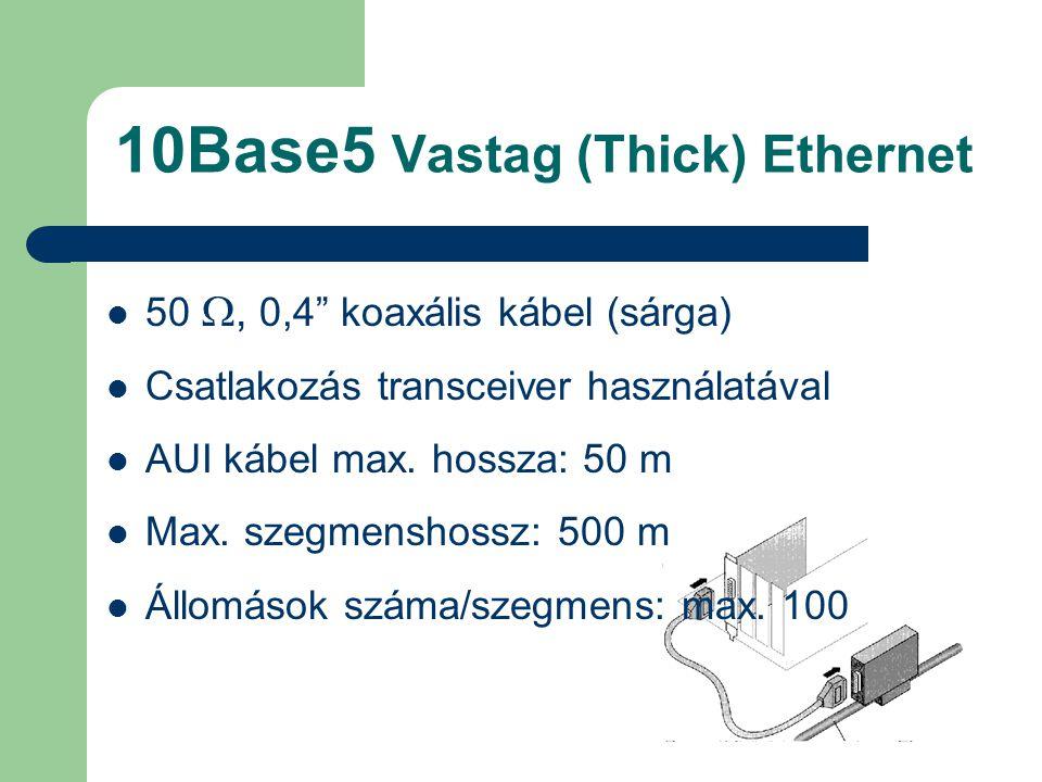 """10Base5 Vastag (Thick) Ethernet 50 , 0,4"""" koaxális kábel (sárga) Csatlakozás transceiver használatával AUI kábel max. hossza: 50 m Max. szegmenshossz"""