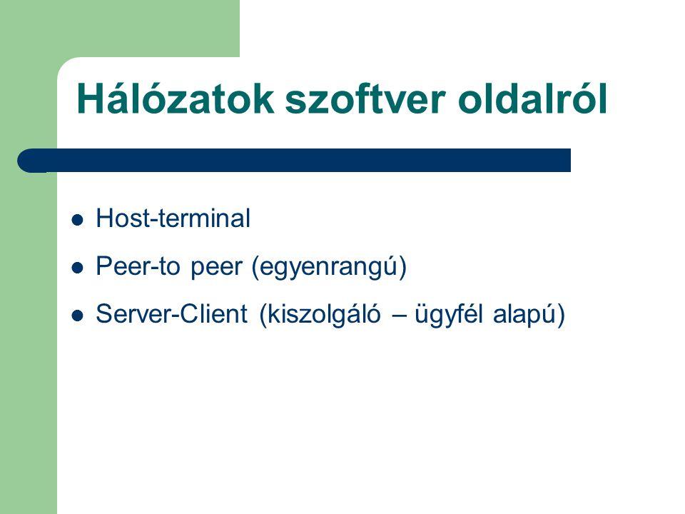 Hálózatok szoftver oldalról Host-terminal Peer-to peer (egyenrangú) Server-Client (kiszolgáló – ügyfél alapú)