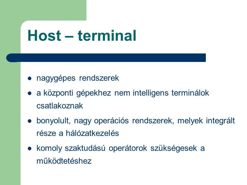 Host – terminal nagygépes rendszerek a központi gépekhez nem intelligens terminálok csatlakoznak bonyolult, nagy operációs rendszerek, melyek integrál
