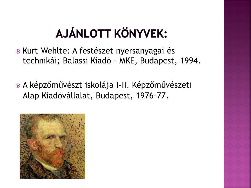  Kurt Wehlte: A festészet nyersanyagai és technikái; Balassi Kiadó - MKE, Budapest, 1994.  A képzőművészt iskolája I-II. Képzőművészeti Alap Kiadóvá