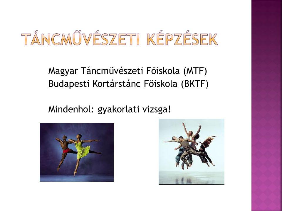 Magyar Táncművészeti Főiskola (MTF) Budapesti Kortárstánc Főiskola (BKTF) Mindenhol: gyakorlati vizsga!