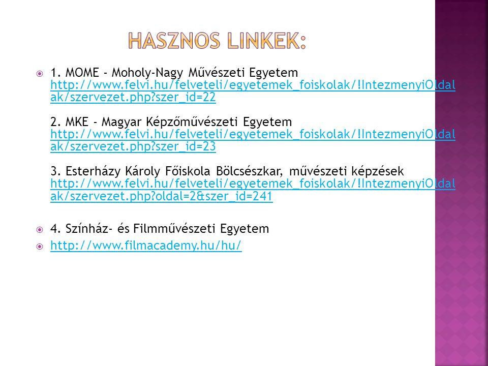  1. MOME - Moholy-Nagy Művészeti Egyetem http://www.felvi.hu/felveteli/egyetemek_foiskolak/!IntezmenyiOldal ak/szervezet.php?szer_id=22 2. MKE - Magy