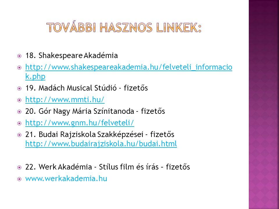 18. Shakespeare Akadémia  http://www.shakespeareakademia.hu/felveteli_informacio k.php http://www.shakespeareakademia.hu/felveteli_informacio k.php