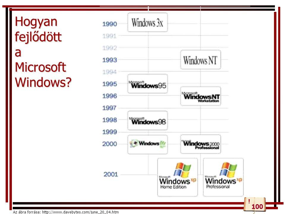 Hogyan fejlődött a Microsoft Windows? Az ábra forrása: http://www.davebytes.com/june_20_04.htm 100 !