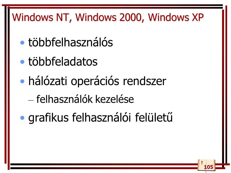 Windows NT, Windows 2000, Windows XP többfelhasználós többfeladatos hálózati operációs rendszer – felhasználók kezelése grafikus felhasználói felületű