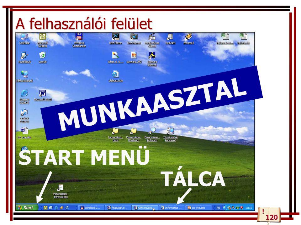 A felhasználói felület Parancsok kiadásával MUNKAASZTAL TÁLCA START MENÜ 120 !