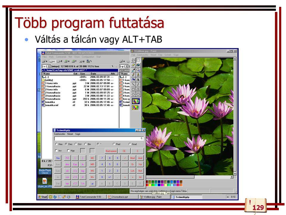 Több program futtatása Váltás a tálcán vagy ALT+TAB 129 !