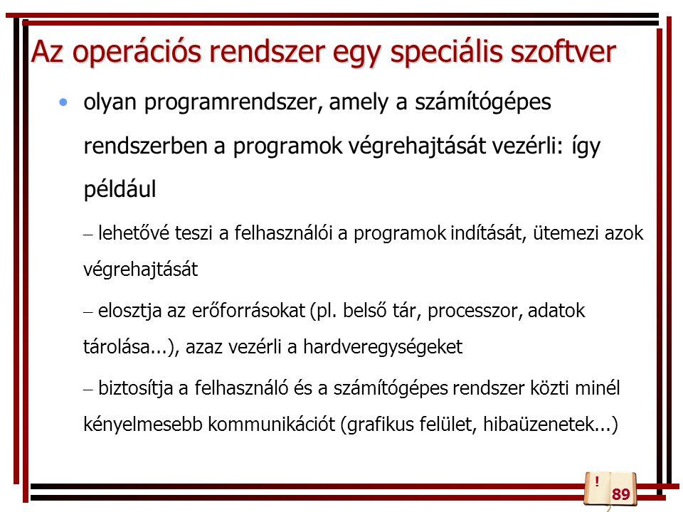 Az operációs rendszer egy speciális szoftver olyan programrendszer, amely a számítógépes rendszerben a programok végrehajtását vezérli: így például –