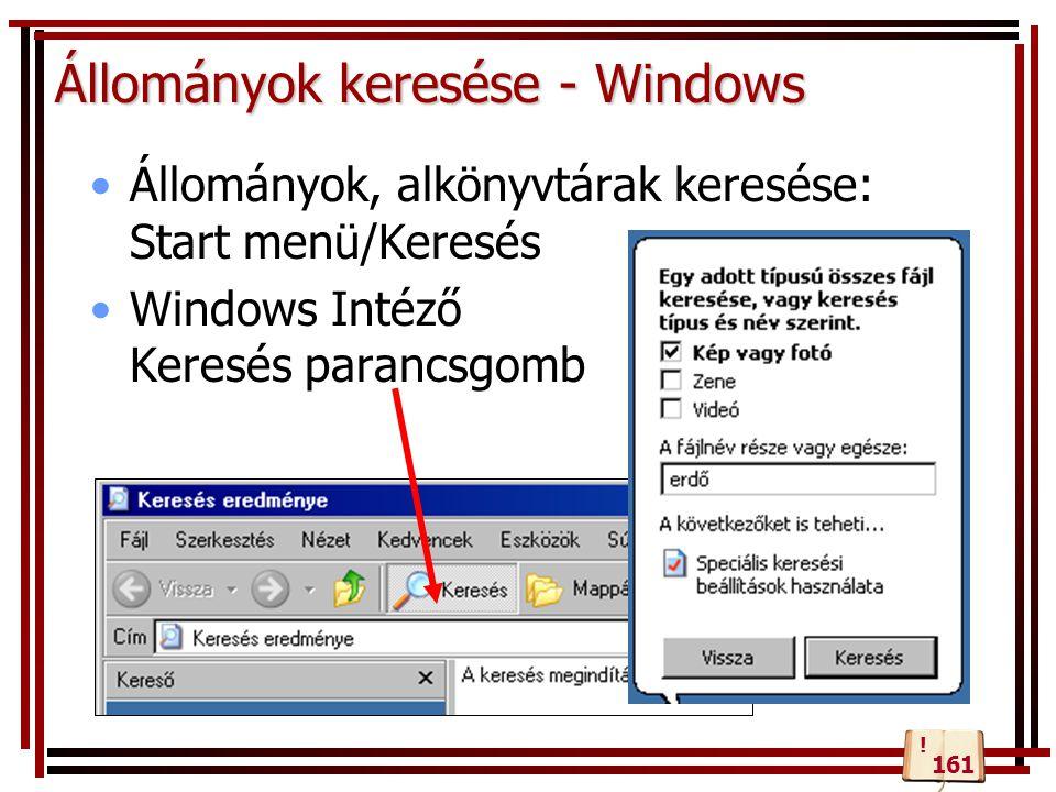 Állományok keresése - Windows Állományok, alkönyvtárak keresése: Start menü/Keresés Windows Intéző Keresés parancsgomb 161 !