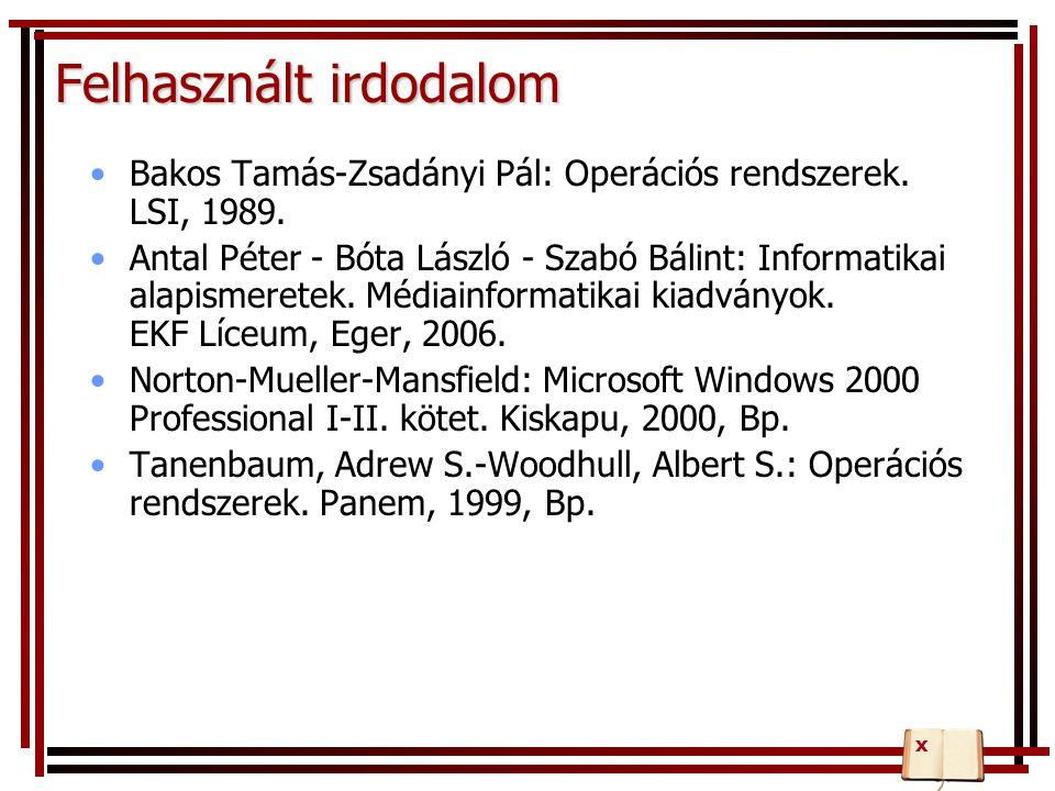 Felhasznált irdodalom Bakos Tamás-Zsadányi Pál: Operációs rendszerek. LSI, 1989. Antal Péter - Bóta László - Szabó Bálint: Informatikai alapismeretek.