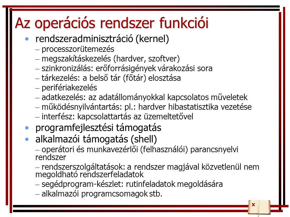 Az operációs rendszer funkciói rendszeradminisztráció (kernel) – processzorütemezés – megszakításkezelés (hardver, szoftver) – szinkronizálás: erőforr