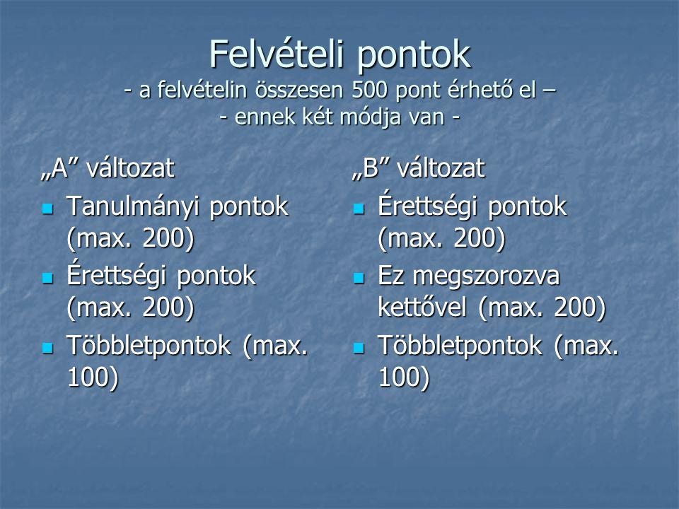 """Felvételi pontok - a felvételin összesen 500 pont érhető el – - ennek két módja van - """"A változat Tanulmányi pontok (max."""
