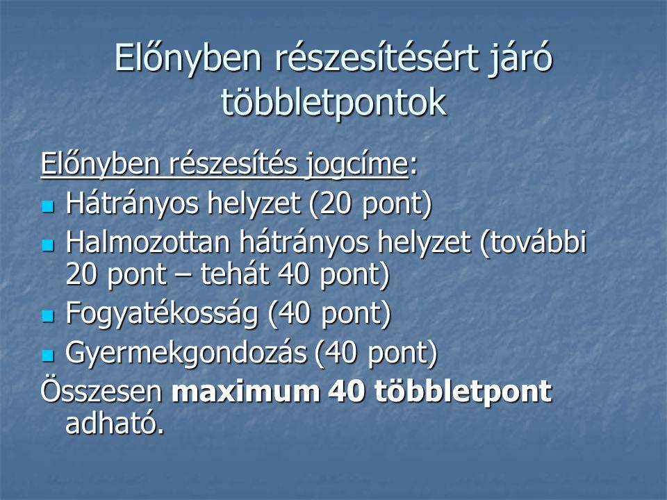 Előnyben részesítésért járó többletpontok Előnyben részesítés jogcíme: Előnyben részesítés jogcíme: Hátrányos helyzet (20 pont) Hátrányos helyzet (20 pont) Halmozottan hátrányos helyzet (további 20 pont – tehát 40 pont) Halmozottan hátrányos helyzet (további 20 pont – tehát 40 pont) Fogyatékosság (40 pont) Fogyatékosság (40 pont) Gyermekgondozás (40 pont) Gyermekgondozás (40 pont) Összesen maximum 40 többletpont adható.