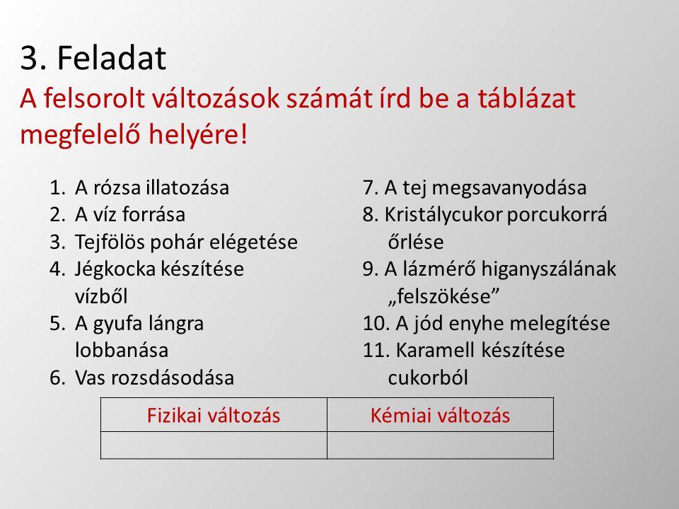 3. Feladat A felsorolt változások számát írd be a táblázat megfelelő helyére! 1.A rózsa illatozása 2.A víz forrása 3.Tejfölös pohár elégetése 4.Jégkoc