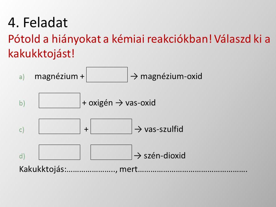 4. Feladat Pótold a hiányokat a kémiai reakciókban! Válaszd ki a kakukktojást! a) magnézium + → magnézium-oxid b) + oxigén → vas-oxid c) + → vas-szulf