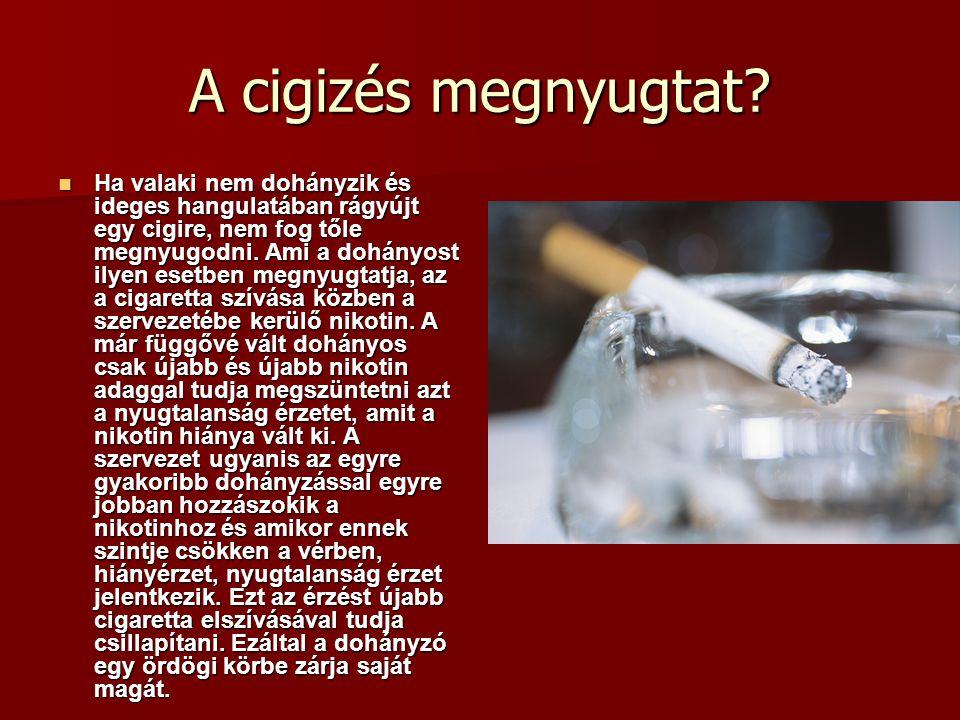 A cigizés megnyugtat? Ha valaki nem dohányzik és ideges hangulatában rágyújt egy cigire, nem fog tőle megnyugodni. Ami a dohányost ilyen esetben megny