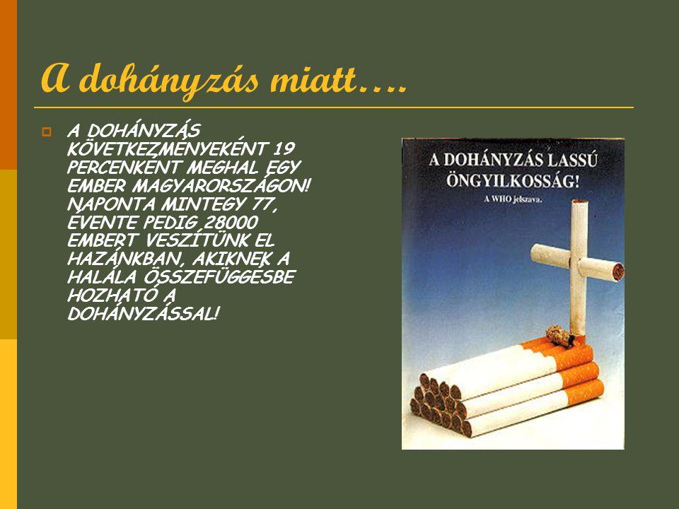 A dohányzás miatt….  A DOHÁNYZÁS KÖVETKEZMÉNYEKÉNT 19 PERCENKÉNT MEGHAL EGY EMBER MAGYARORSZÁGON! NAPONTA MINTEGY 77, ÉVENTE PEDIG 28000 EMBERT VESZÍ