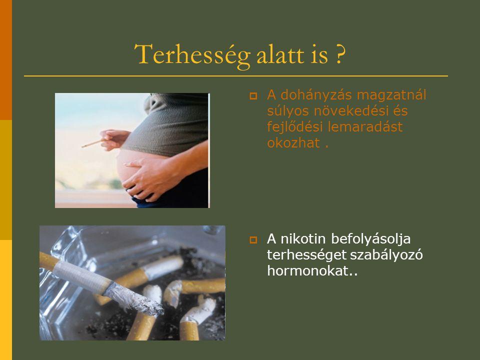 Terhesség alatt is ?  A dohányzás magzatnál súlyos növekedési és fejlődési lemaradást okozhat.  A nikotin befolyásolja terhességet szabályozó hormon
