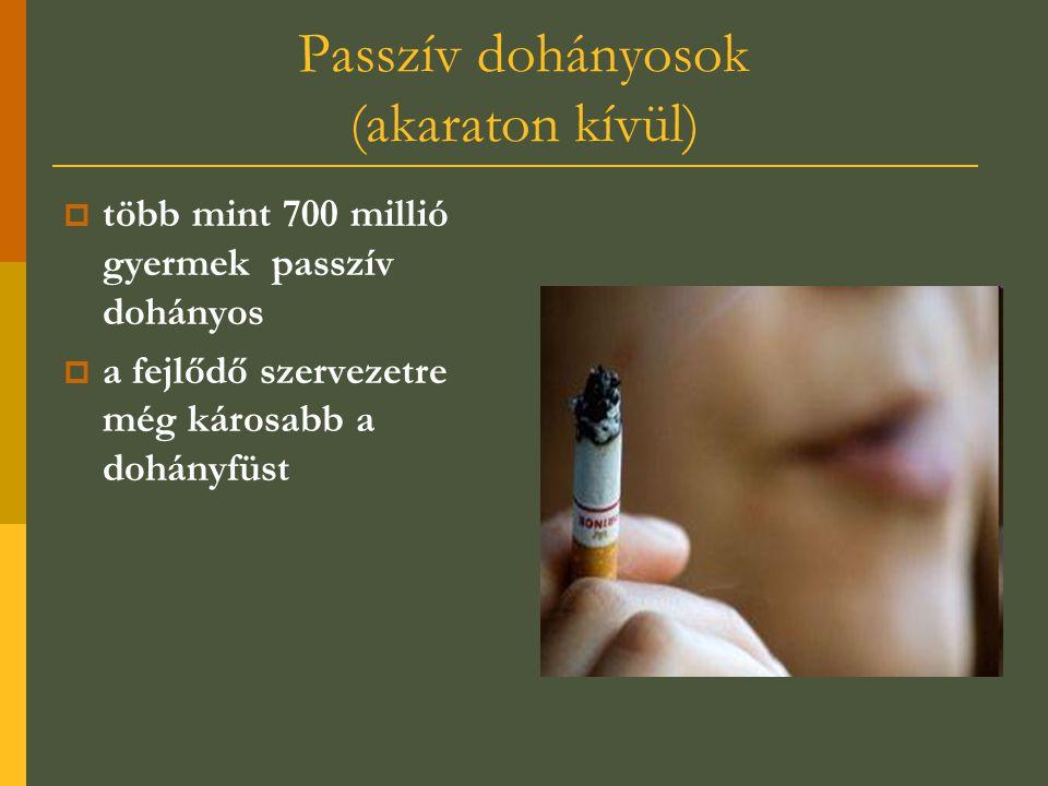 Passzív dohányosok (akaraton kívül)  több mint 700 millió gyermek passzív dohányos  a fejlődő szervezetre még károsabb a dohányfüst