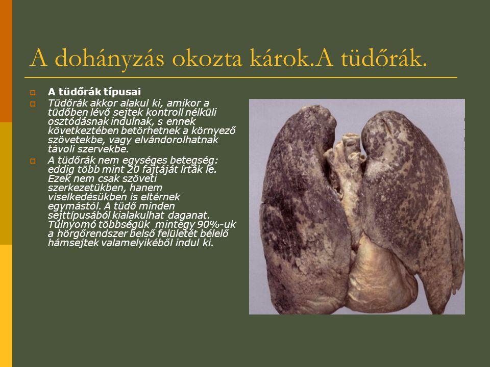A dohányzás okozta károk.A tüdőrák.  A tüdőrák típusai  Tüdőrák akkor alakul ki, amikor a tüdőben lévő sejtek kontroll nélküli osztódásnak indulnak,