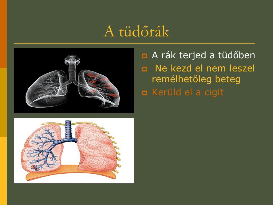 A tüdőrák  A rák terjed a tüdőben  Ne kezd el nem leszel remélhetőleg beteg  Kerüld el a cigit