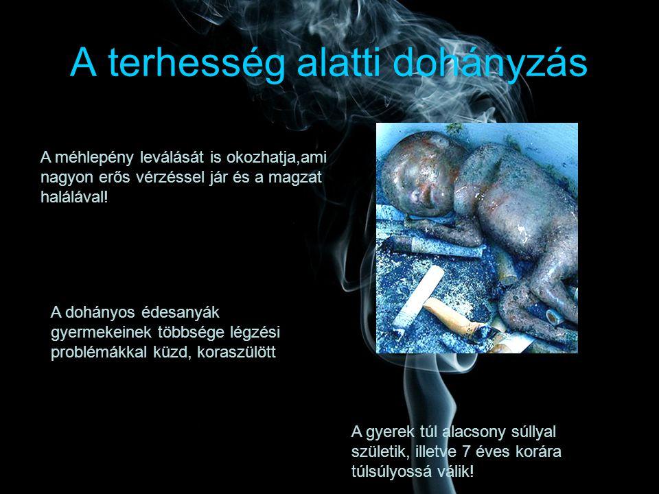 A terhesség alatti dohányzás A méhlepény leválását is okozhatja,ami nagyon erős vérzéssel jár és a magzat halálával! A gyerek túl alacsony súllyal szü