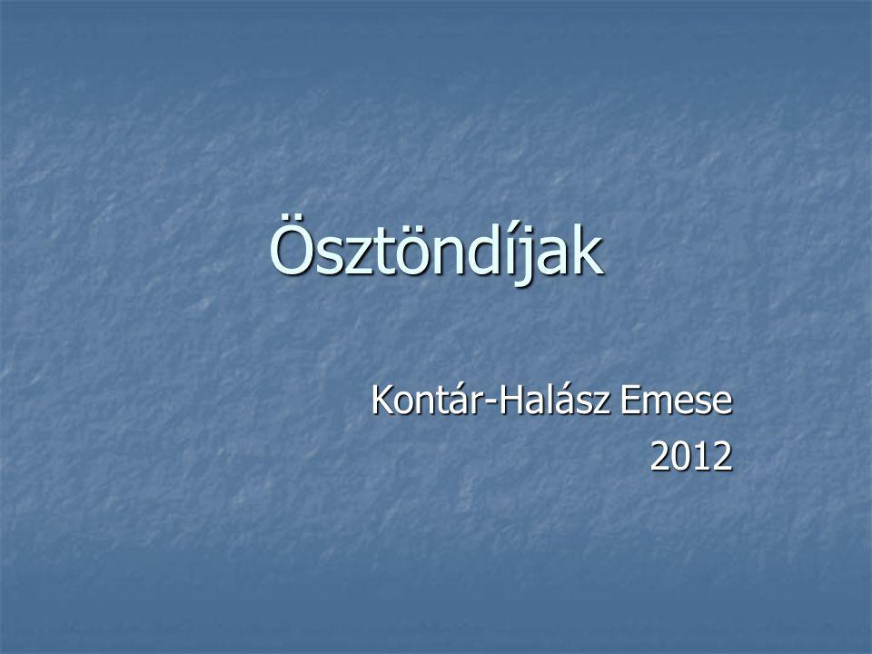 Ösztöndíjak Kontár-Halász Emese 2012