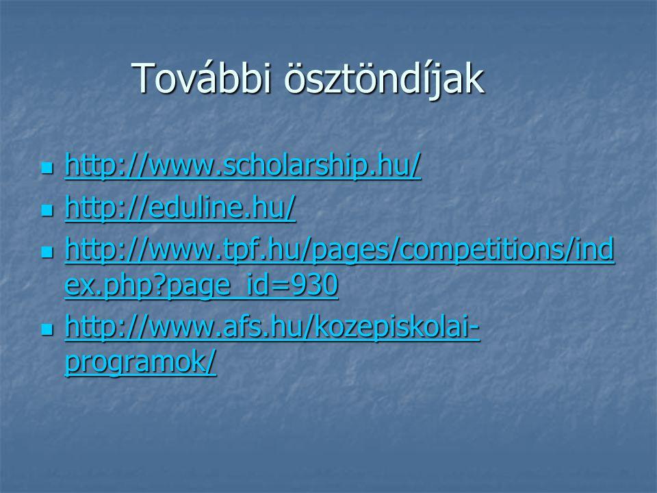 További ösztöndíjak http://www.scholarship.hu/ http://www.scholarship.hu/ http://www.scholarship.hu/ http://eduline.hu/ http://eduline.hu/ http://eduline.hu/ http://www.tpf.hu/pages/competitions/ind ex.php page_id=930 http://www.tpf.hu/pages/competitions/ind ex.php page_id=930 http://www.tpf.hu/pages/competitions/ind ex.php page_id=930 http://www.tpf.hu/pages/competitions/ind ex.php page_id=930 http://www.afs.hu/kozepiskolai- programok/ http://www.afs.hu/kozepiskolai- programok/ http://www.afs.hu/kozepiskolai- programok/ http://www.afs.hu/kozepiskolai- programok/